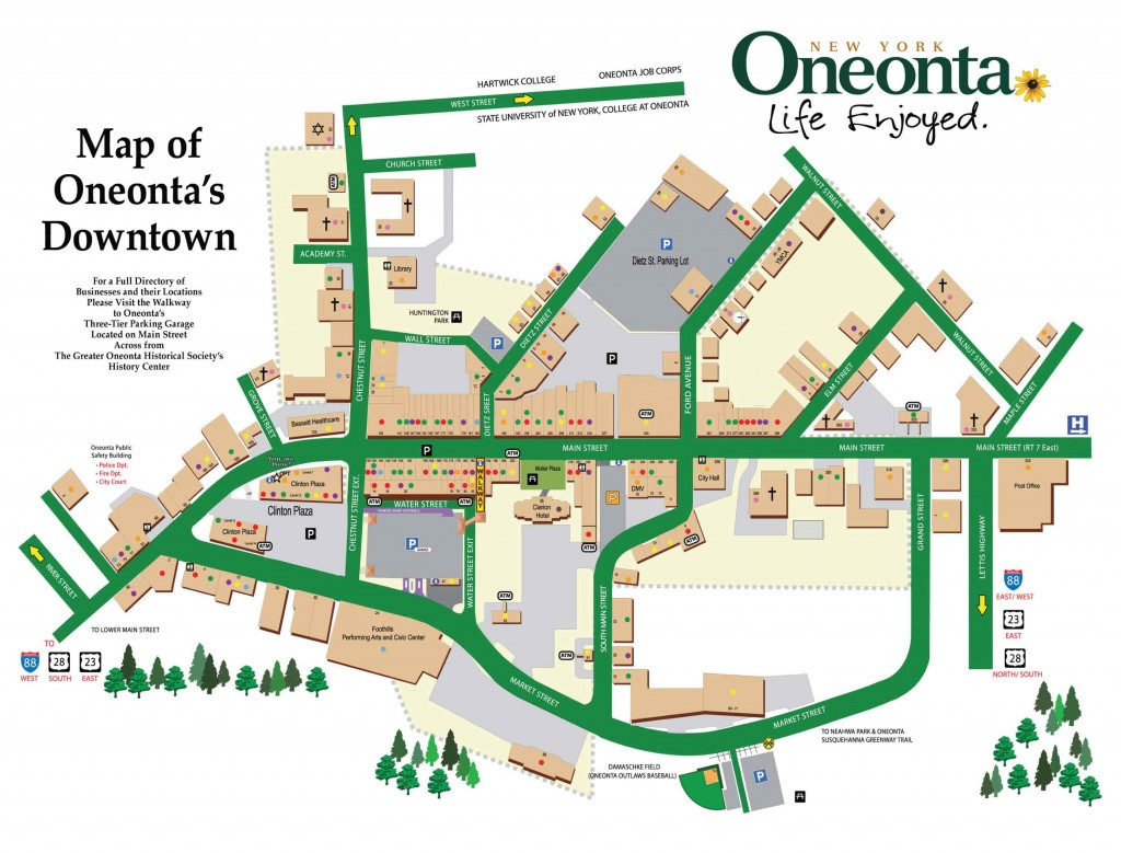 Map of Main Street in Oneonta, NY