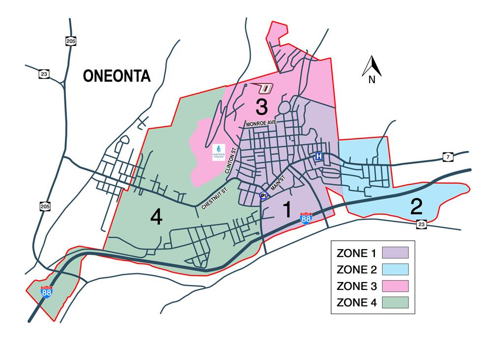 Oneonta, NY Taxi Service Map