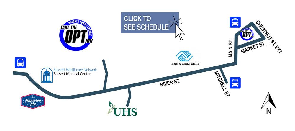 Oneonta, NY River Street bus route