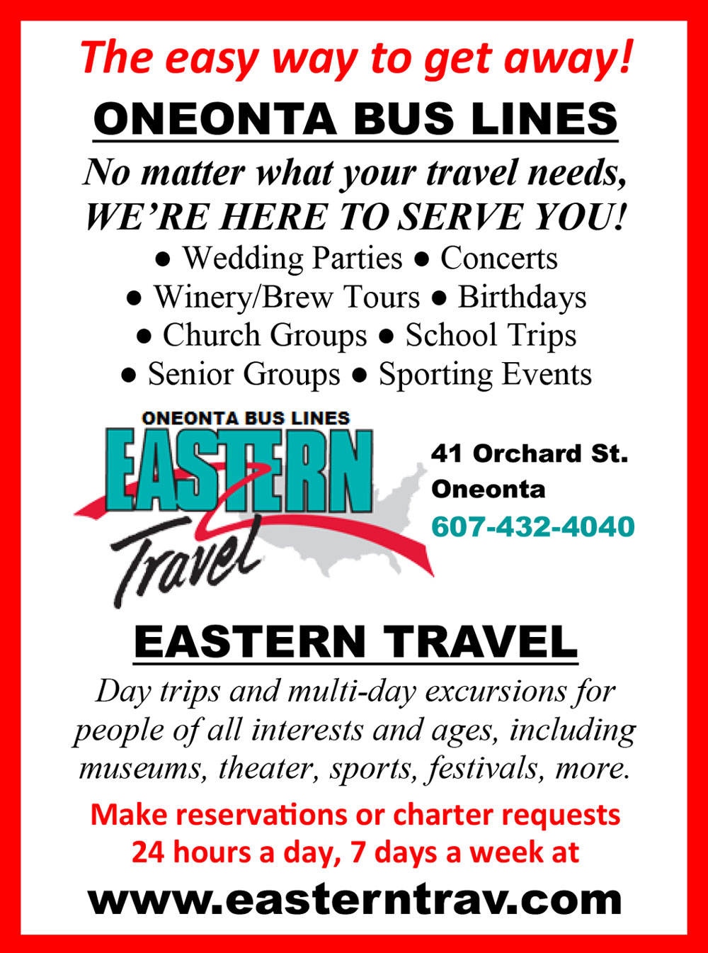 Eastern Travel & Oneonta Bus Lines | Everything Oneonta, NY